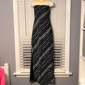 Charlotte Russe Black Silver Bling Maxi Dress Sm